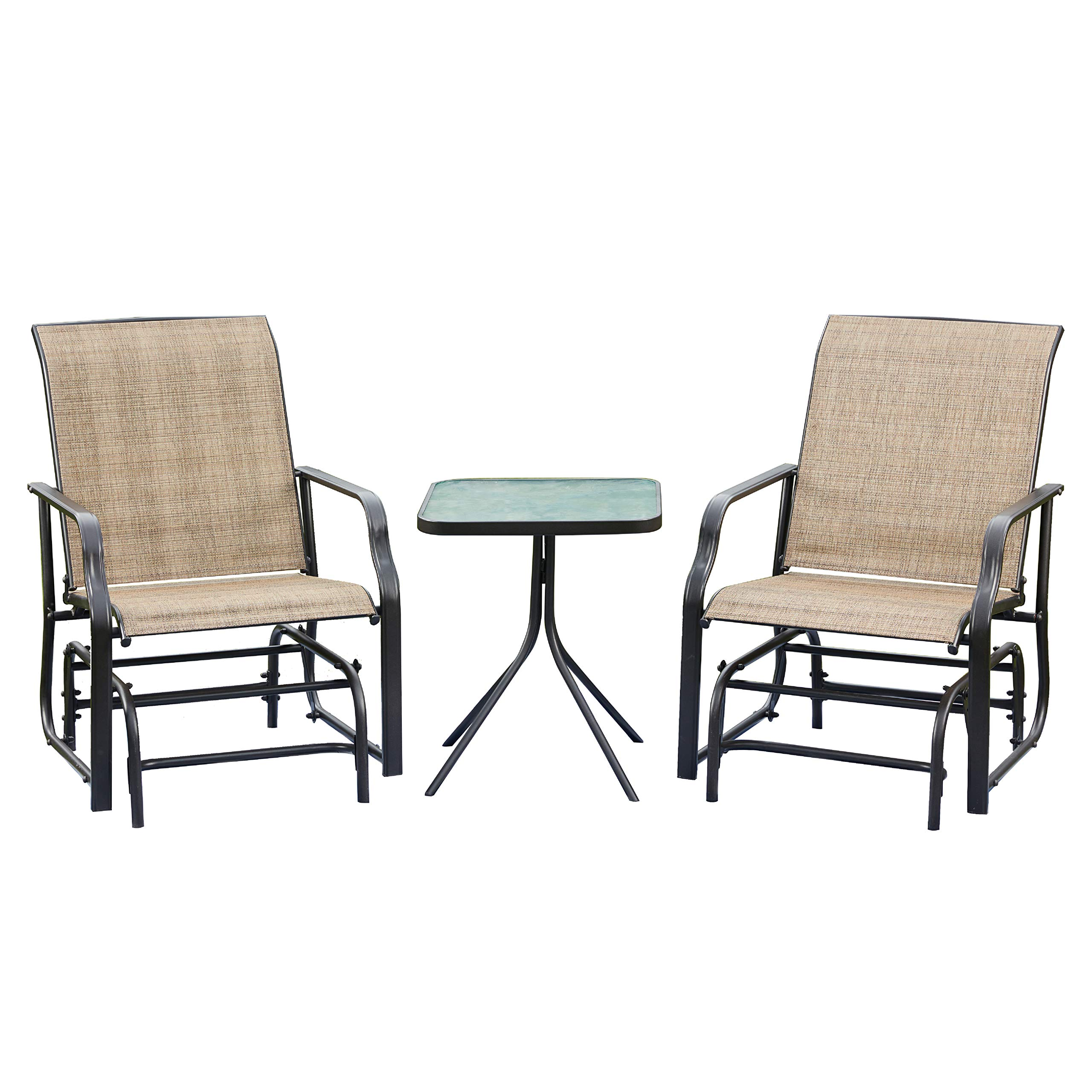 LOKATSE HOME 3 Piece Outdoor Patio Glider Set with 2 Rocking Chairs and 1 Glass Top Table, Natural