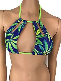 5c010a19bf4c2 Exotic Dancewear Halter keyhole High Neck Bikini Top Choker Bralette Rave  Outfits Marijuana Print Swimwear Turtle