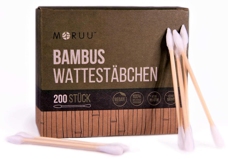 Moruu - Ihre Premium Bambus Wattestäbchen (200 oder 600 Stück), neu mit Präzisionsspitze ideal für Beauty, Hobby & Haushalt, 100% natürlich & kompostierbar, 0% Plastik