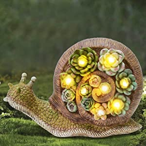 ALLADINBOX Garden Statue Snail Figurine - Resin Statue with Solar LED Lights for Patio Yard Art Decor, Lawn Ornaments, Indoor Outdoor Spring Summer Decorations