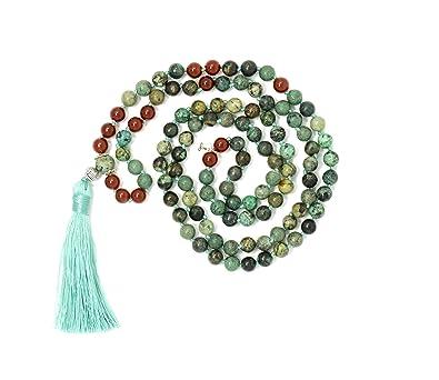 Larimar Accessories | Premium 8MM 108 Mala Beads Necklace with Tassel | Mala Gemstone Necklace | Mala Yoga Necklace | Mala Meditation Beads | Jewelry ...