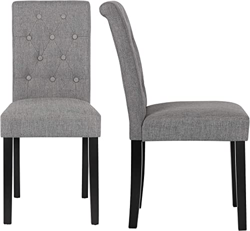 DAGONHIL Button-Tufted Upholstered Fabric Dining Chair