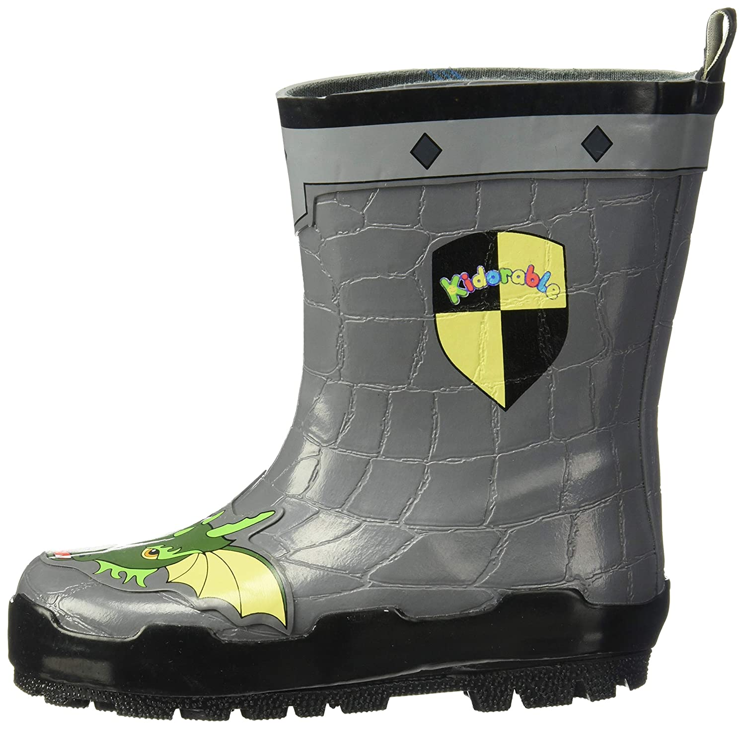 Big Kid Kidorable Dragon Knight Grey Natural Rubber Rain Boots With A Pull On Heel Tab