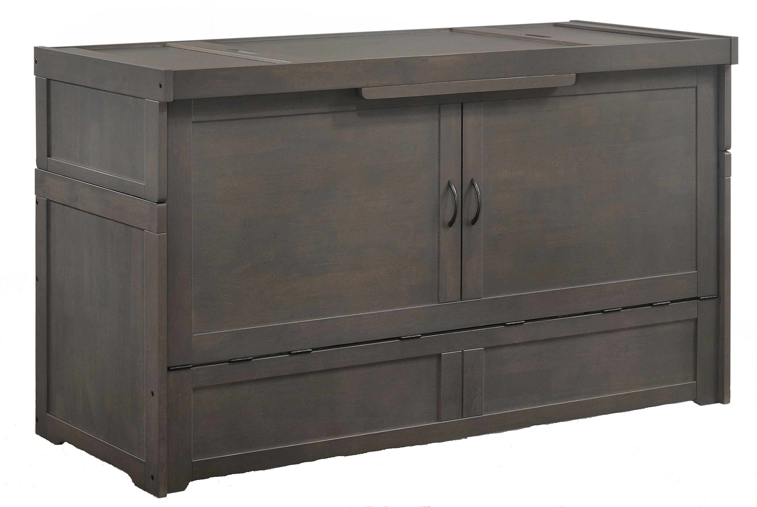 SDS Murphy Cube Queen Cabinet Bed Fully Assembled (Stonewash) by Night & Day