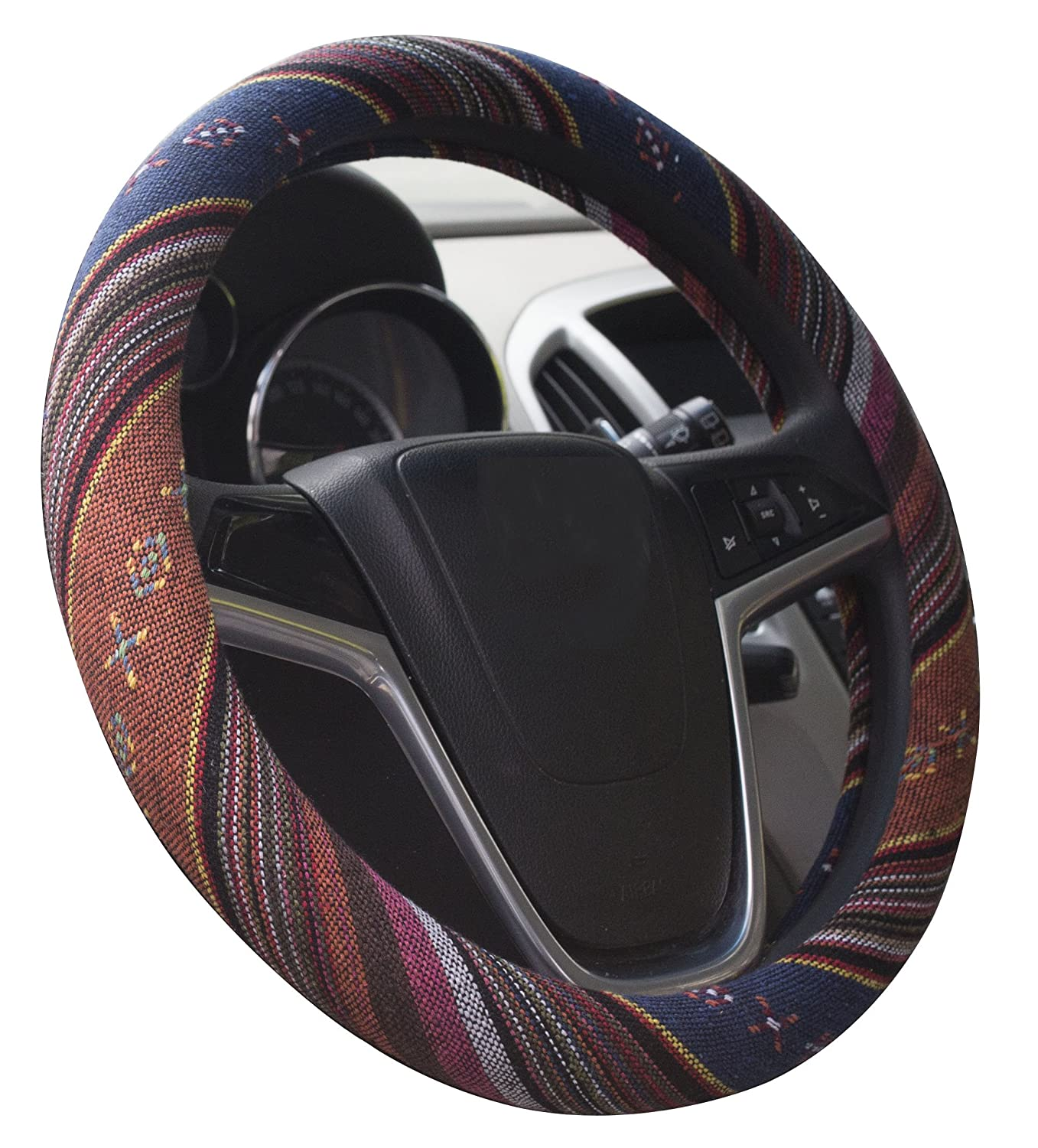 Mayco Bell 2016 Ethnic Style Coarse Flax Cloth Automotive Steering Wheel Cover Anti Slip and Sweat Absorption Auto Car Wrap Cover (C) Istn Mayco Bell 0020