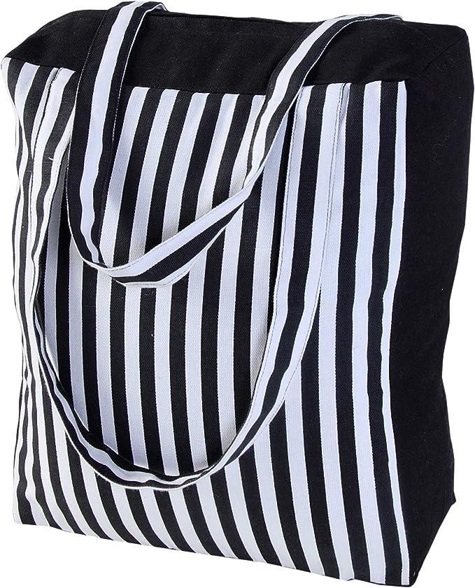 Homescapes Bolsa de Compra de algodón con patrón a Rayas Negras y Blancas 27x32x11cm: Amazon.es: Hogar
