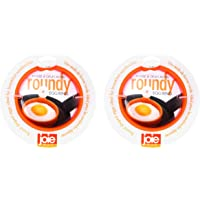"""MSC International 50666 Joie Eggy 3.5"""" Non-Stick Silicone Compact Egg Ring with Folding Handle, Set of 2, Orange"""