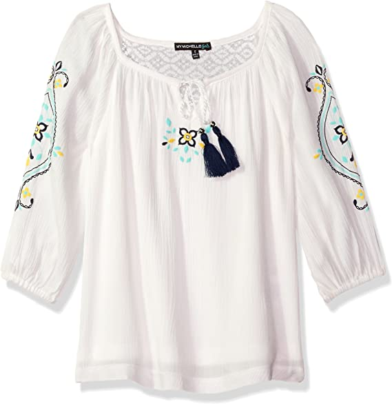 My Michelle Girls Big Peasant Blouse with Embroidery and Tassels