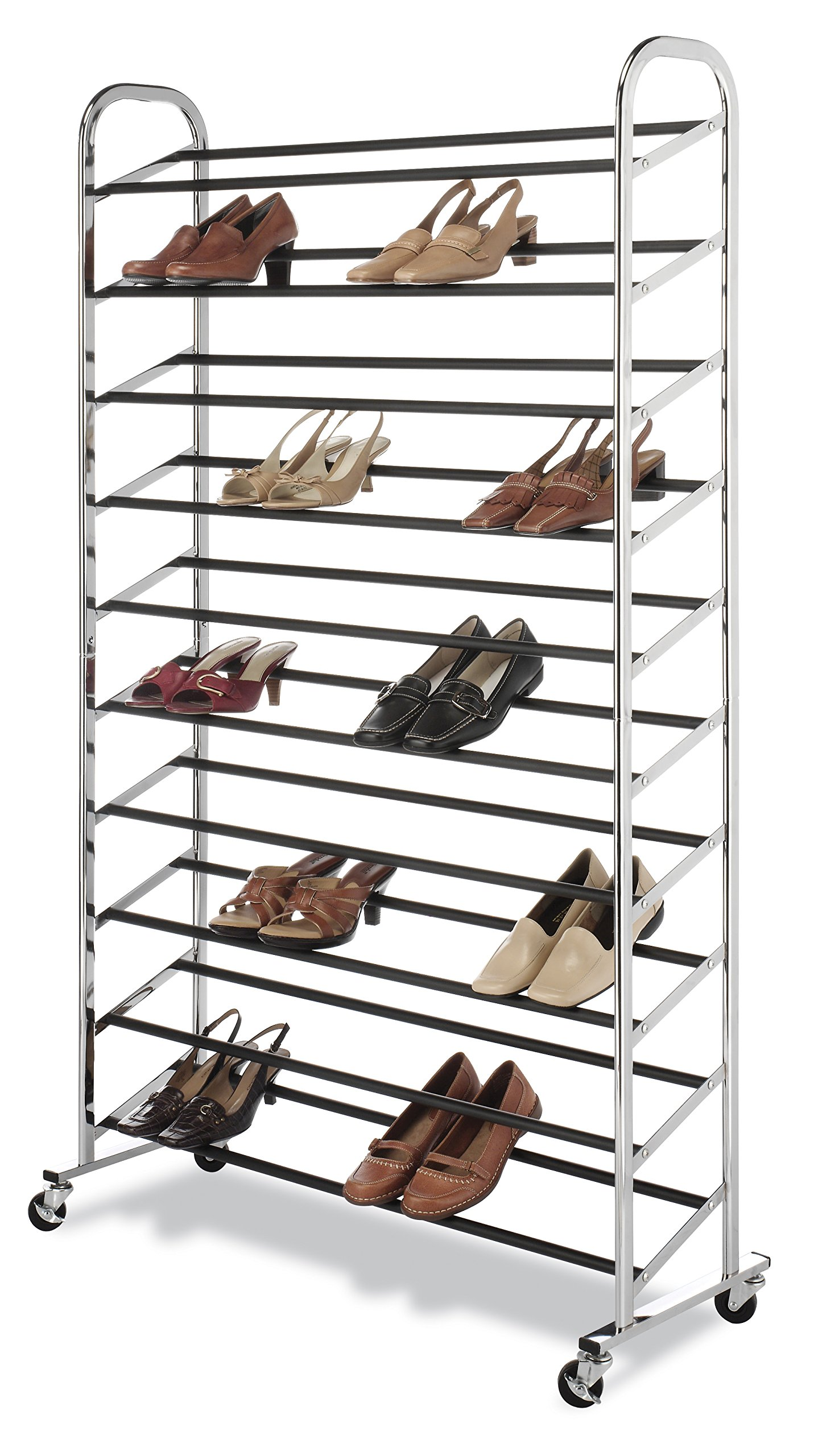 Whitmor 10 Tier Shoe Tower - 50 Pair - Rolling Shoe Rack with Locking Wheels - Chrome by Whitmor (Image #3)