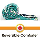 Divine Casa Microfibre Comforter/Blanket/Quilt/Duvet Lightweight, All Weather Single Comforter, Floral- Blue and Green (110 GSM)