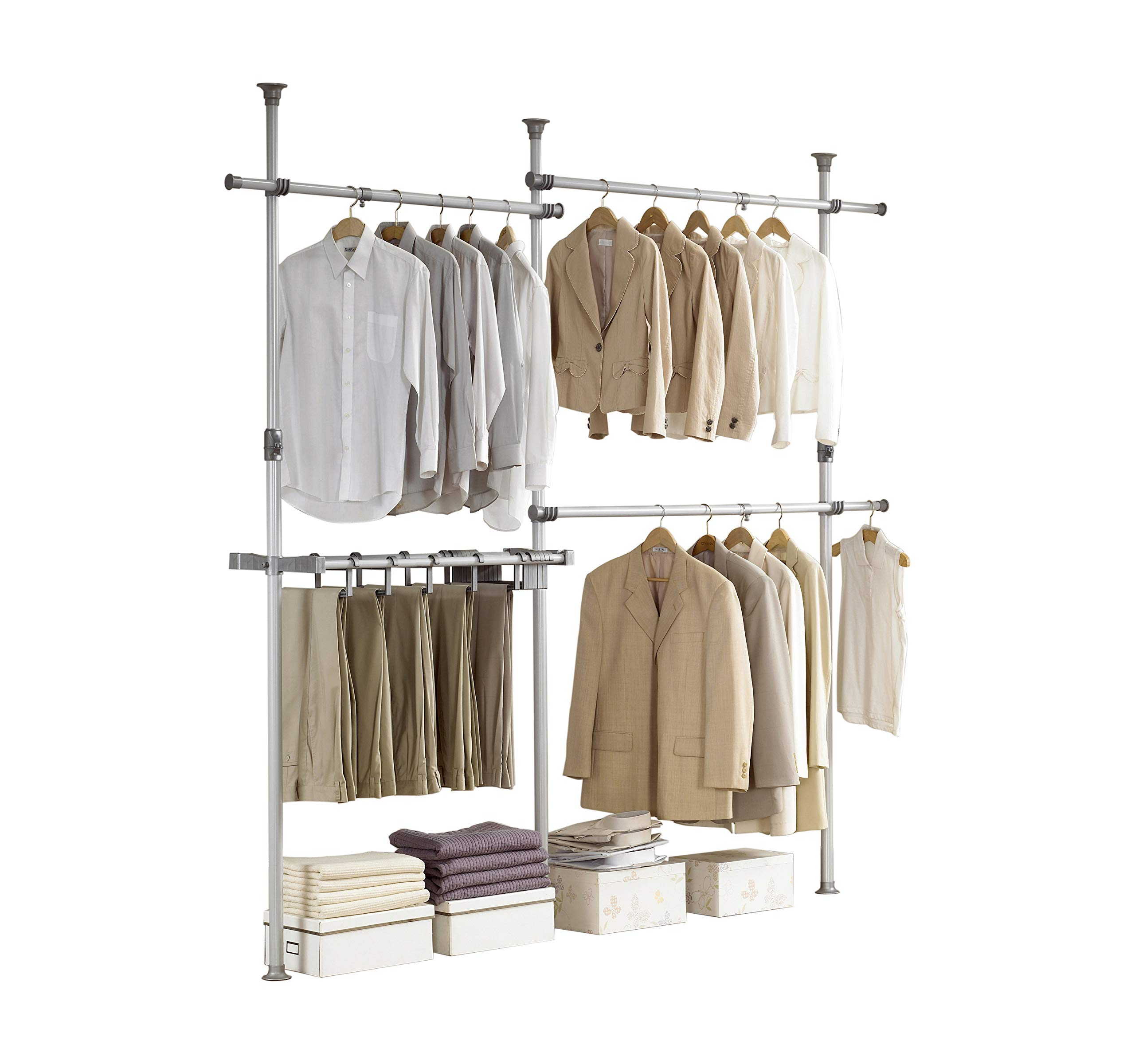 PRINCE HANGER, Double 2tier Pants Hanger, Silver, Steel, 38mm Heavy Duty, Closet Organizer, Clothing Rack, PHUS-0031 by PRINCE HANGER