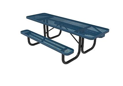 Terrific Coated Outdoor Furniture T8H2 Lbl Rectangular Portable Picnic Table Handicap Accessible On Both Ends 8 Feet Light Blue Customarchery Wood Chair Design Ideas Customarcherynet