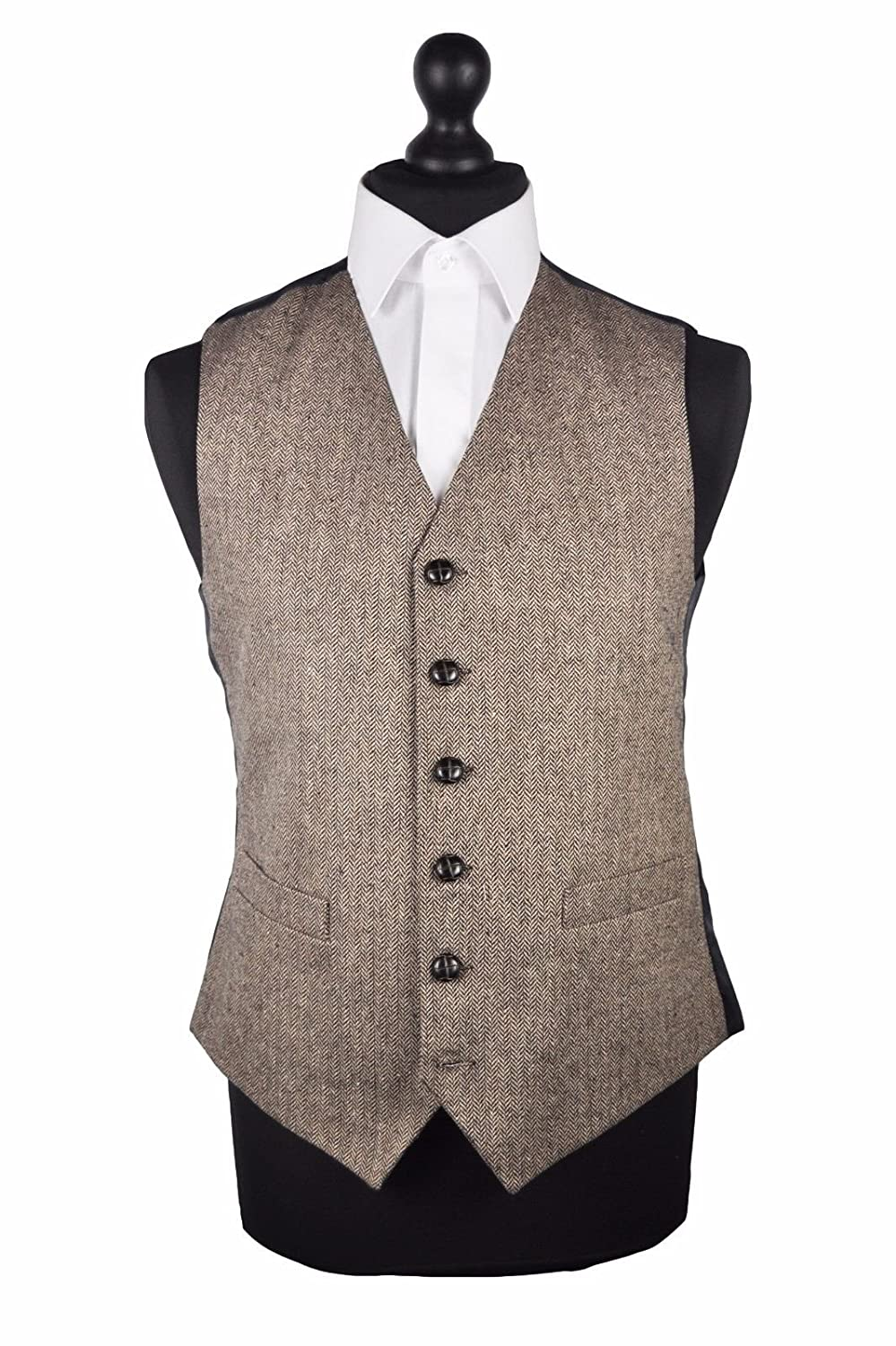 Brown/Beige Herringbone Wool Handle Waistcoat