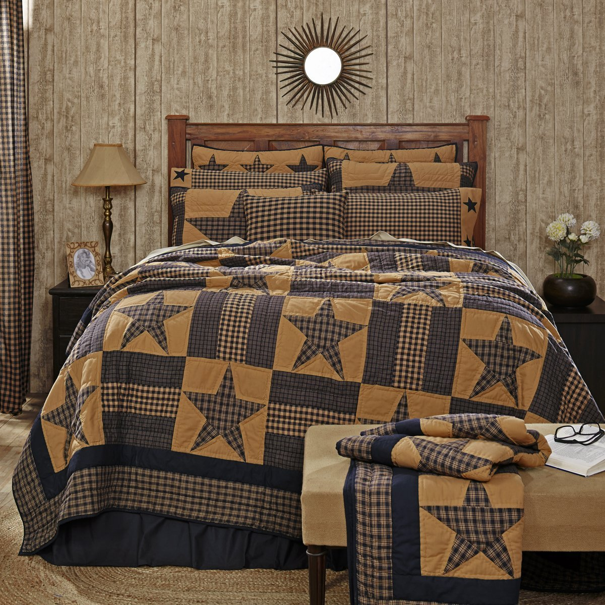 VHC Brands Teton Star Luxury King Cotton Quilt in Blue and Tan 19850