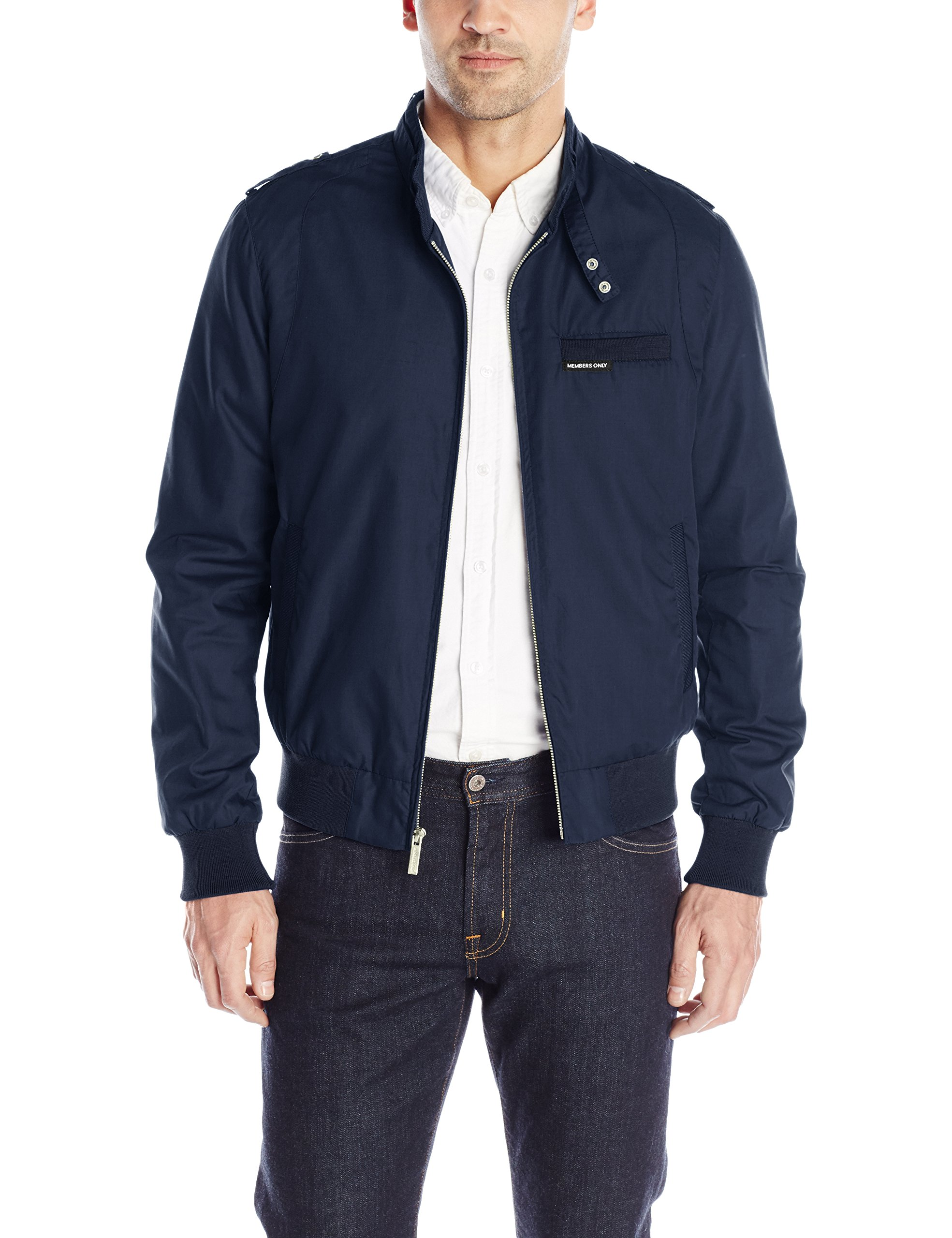 Members Only Men's Original Iconic Racer Jacket, Authentic Navy, M