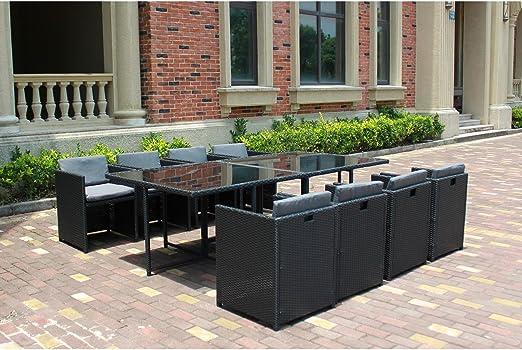 Mon Usine El Vito: salón jardín Negro (empotrable, Resina 8 sillas: Amazon.es: Jardín