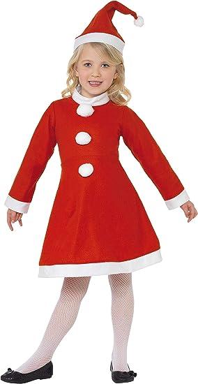 SmiffyS - Disfraz Mamá Noel con Vestido y Gorro para Niñas, Rojo ...