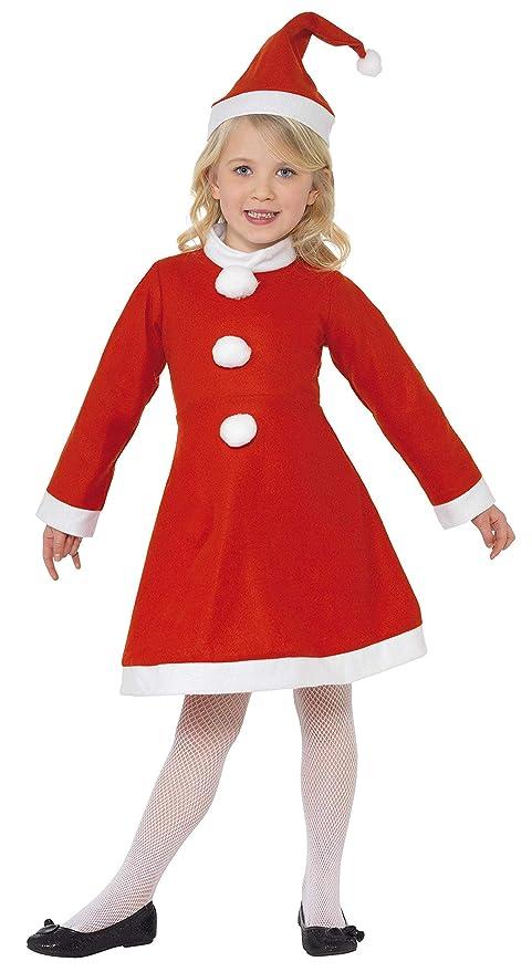 SmiffyS - Disfraz Mamá Noel con Vestido y Gorro para Niñas, Rojo, S - Edad 4-6 años