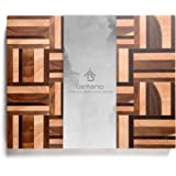 Befano Thick End Grain Cutting Board Mosaic Pattern Splicing Lattice Chopping Board with Invisible Handle for Kitchen Vegetab