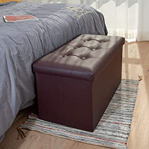 COSYLAND Ottoman Bench with Storage 30x15x15 inches Brown Ottoman for Room Folding Leather Ottoman Footrest Footstool Rectangle Collapsible Furniture with Lid for Bedroom Living Room