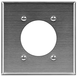 "ENERLITES Electrical Dryer and Range Oven Receptacle Outlet Metal Wall Plate, 2.125"" Diameter Single Hole, Corrosive Resistant, Size 2-Gang 4.50"" x 4.57"", 7792, 430 Stainless Steel"