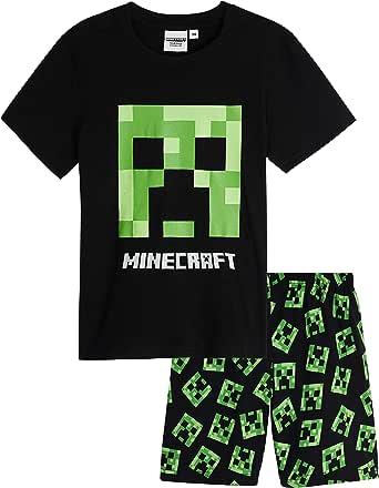 Minecraft Pijama Niño Verano, Pijamas Niños Cortos con Diseño Creeper, Incluye Camiseta y Pantalon Corto Niño, Regalos para Niños Adolescentes 5-14 Años
