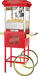 6040 Great Northern Pasadena Popcorn Popper Machine with Cart, 8 Ounce,