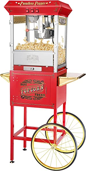 6040 Great Northern Pasadena Popcorn Popper Machine with Cart, 8 Ounce, Red