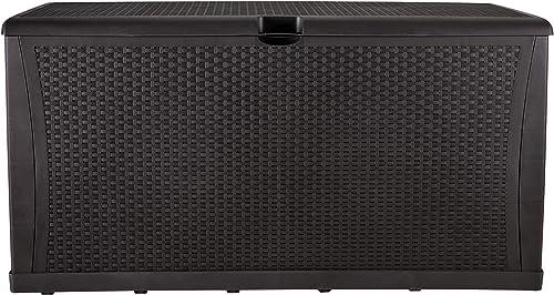 KOOLWOOM Deck Box, 120-Gallon Patio Outdoor Plastic Storage 47.2 L x 24.01 W x 24.80 H Waterproof Brown