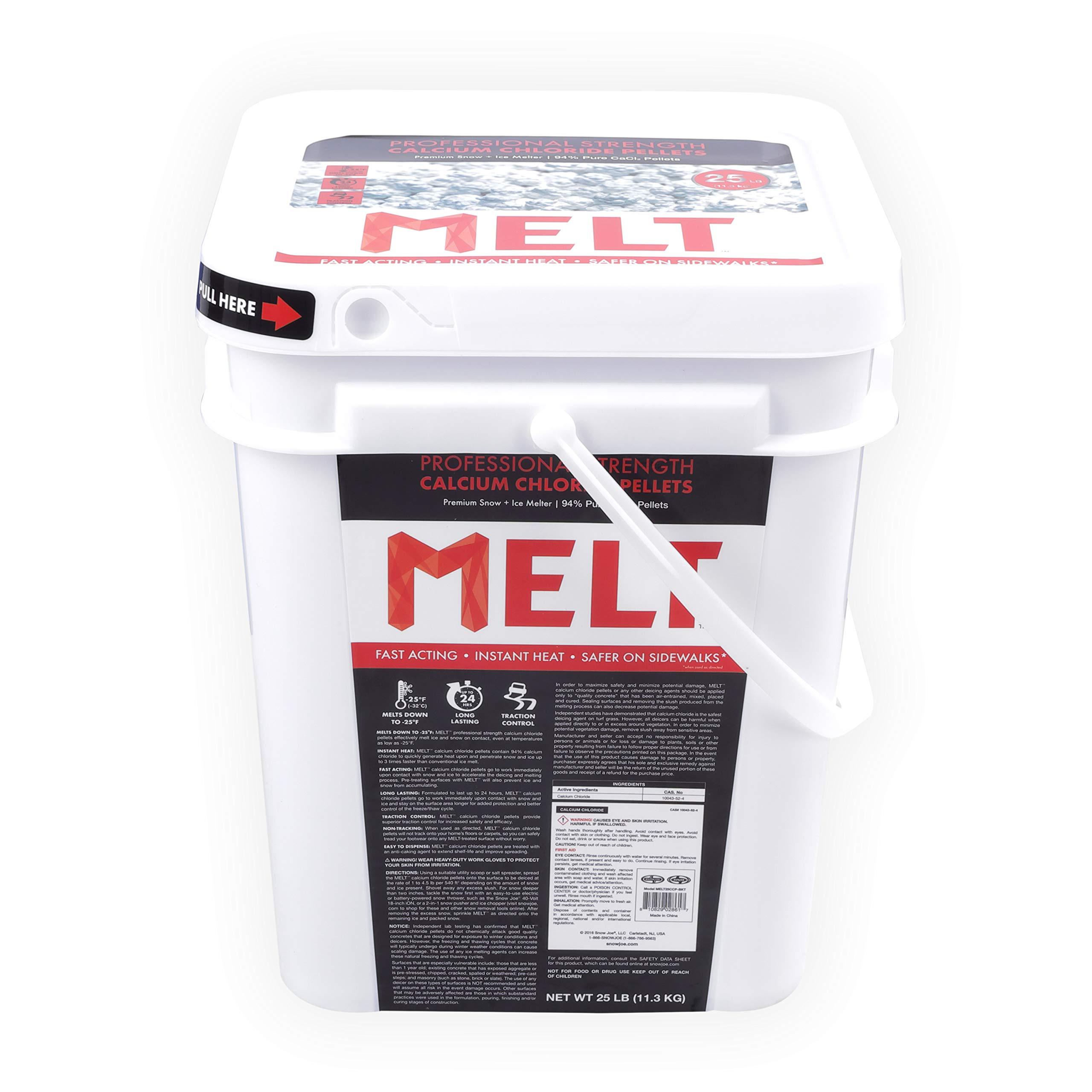 Snow Joe AZ-25-CCP-BKT Melt-2-Go 94% Pure Calcium Chloride Pellet Ice Melter, 25-lb Flip-Top Bucket W/Scooper by Snow Joe