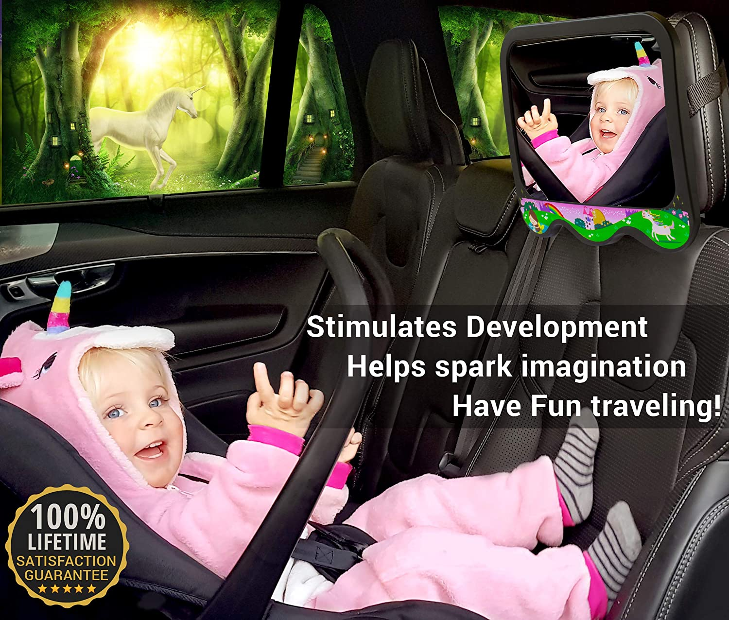 COZY GREENS Baby Car Mirror Girls Theme Baby Mirror for Car Back Seat Wide View Carseat Mirrors Backseat Rear Facing 100/% Lifetime Satisfaction Guarantee Shatterproof Crash Tested Stable