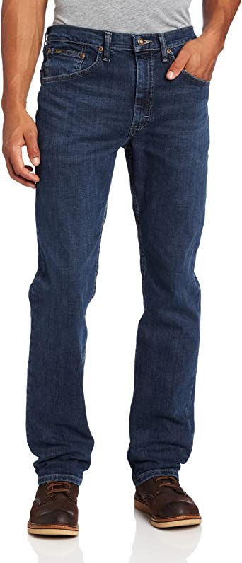 New Men/'s Lee Brooklyn Straight Leg Stretch Jeans Regular Black Blue Dark Denim