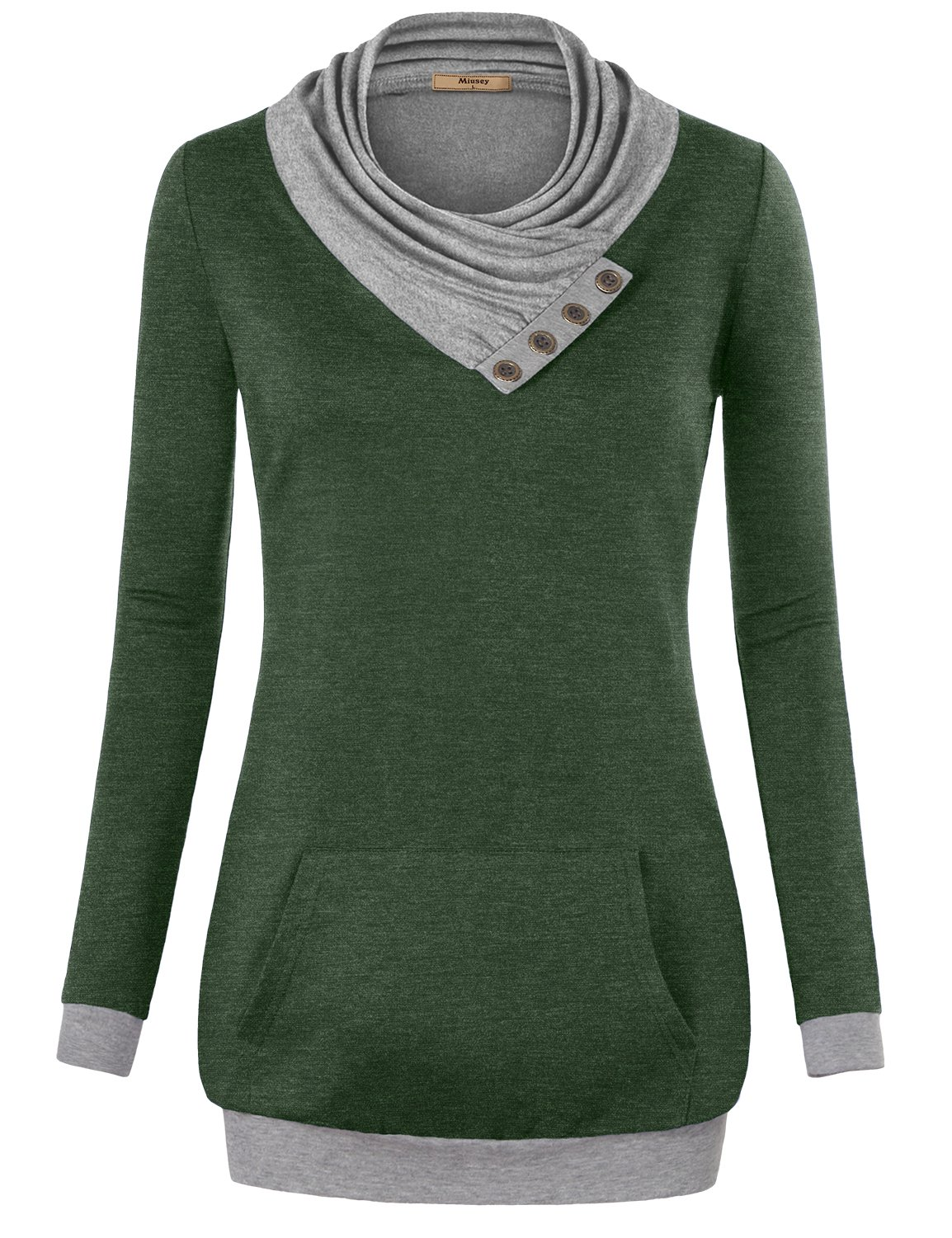 Miusey Workout Clothes, Women's Long Sleeve Cowl Neck Pullover Sweatshirt with Kangaroo Pocket Green Large