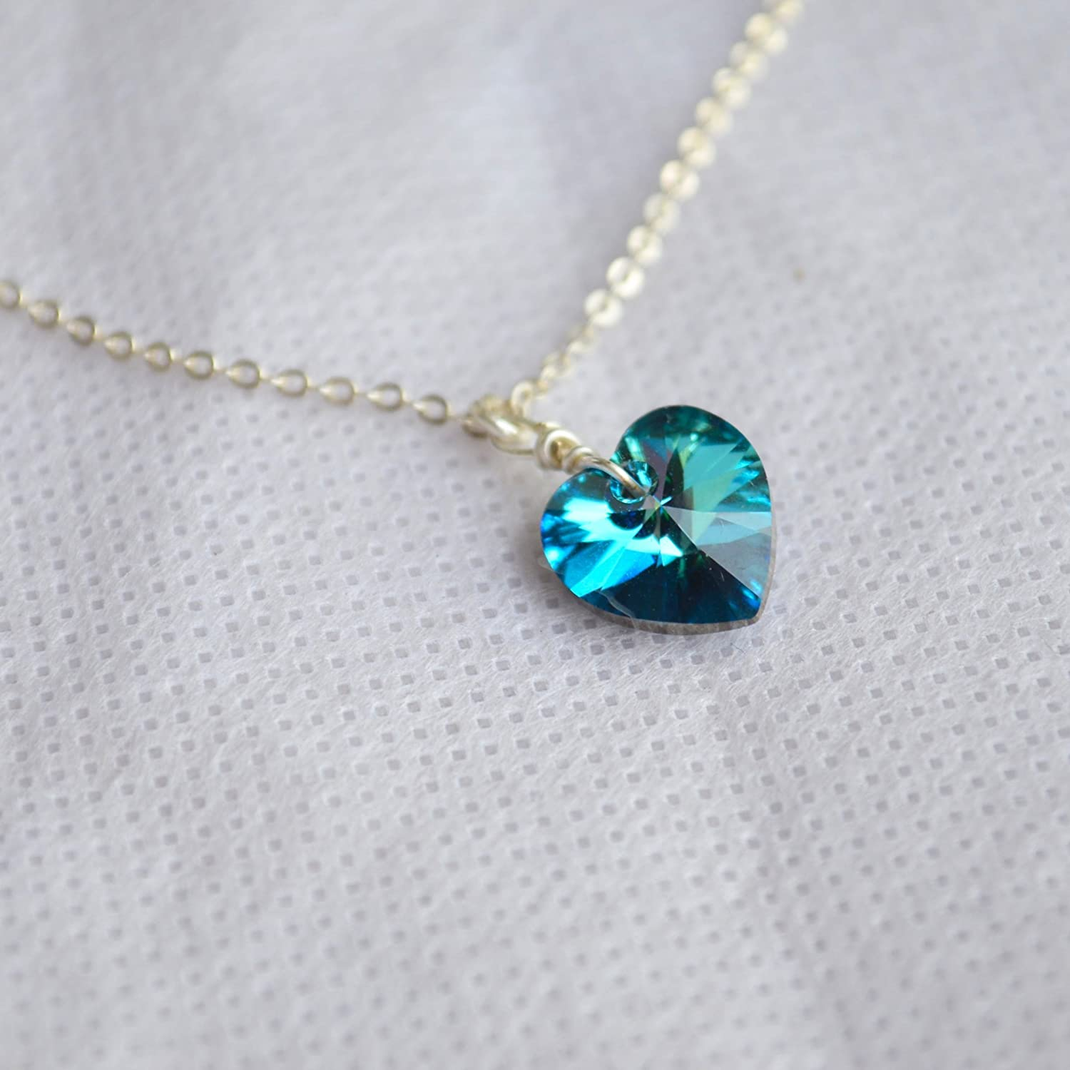 Heart Of The Ocean Love Rhinestone 925 Sterling Silver Necklace 17.7 Length