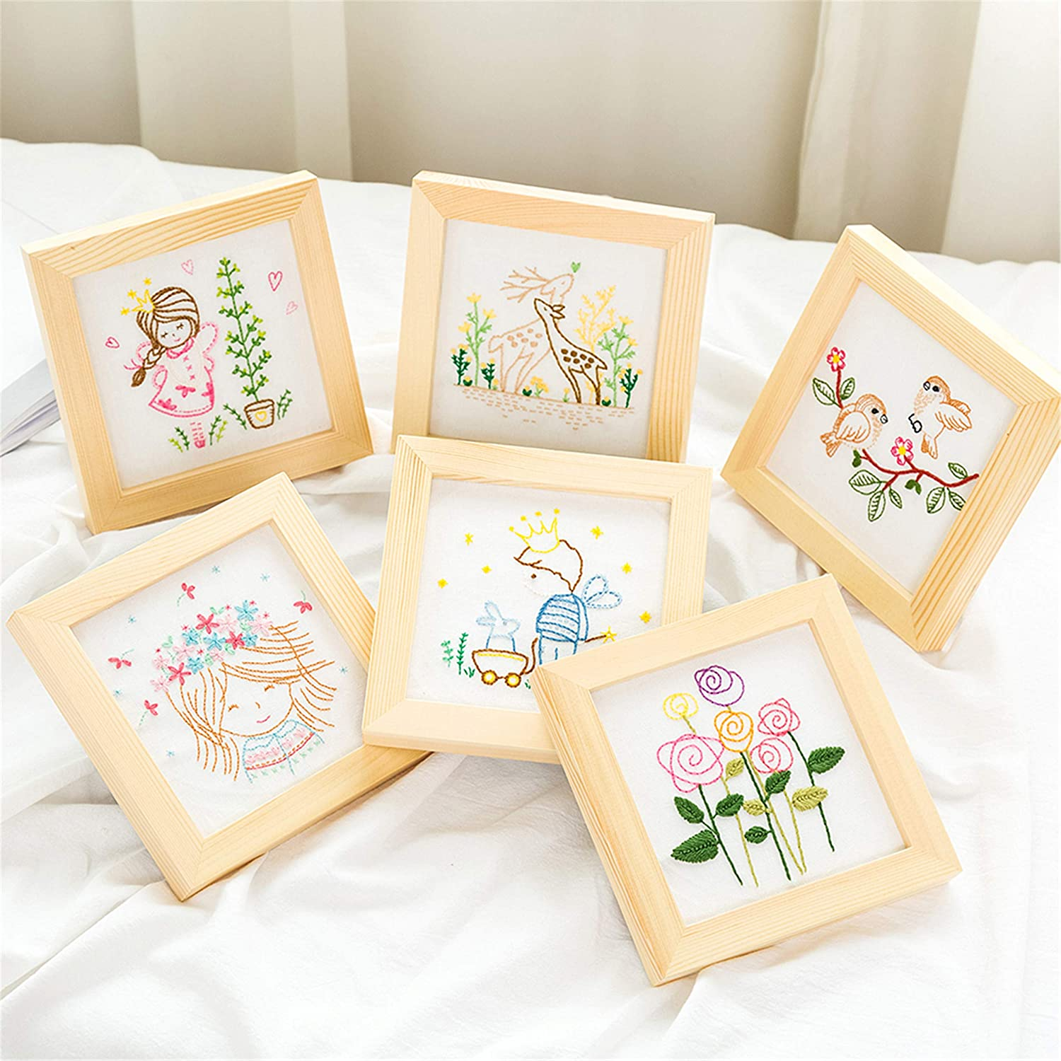 Color Threads 511182 Embroidery Cloth Full Range of Handmade Embroidery Starter Kit with Various Patterns Including Embroidery Hoop Needle and Instruction for Beginners-Birds Pattern
