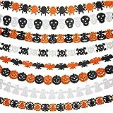 Mtlee 8 Pieces Halloween Paper Chain Garland Decoration, Ghost, Pumpkin, Bat, Skull, Pumpkin with Leaf, Spider Web, Ghost Head, Spider Shape