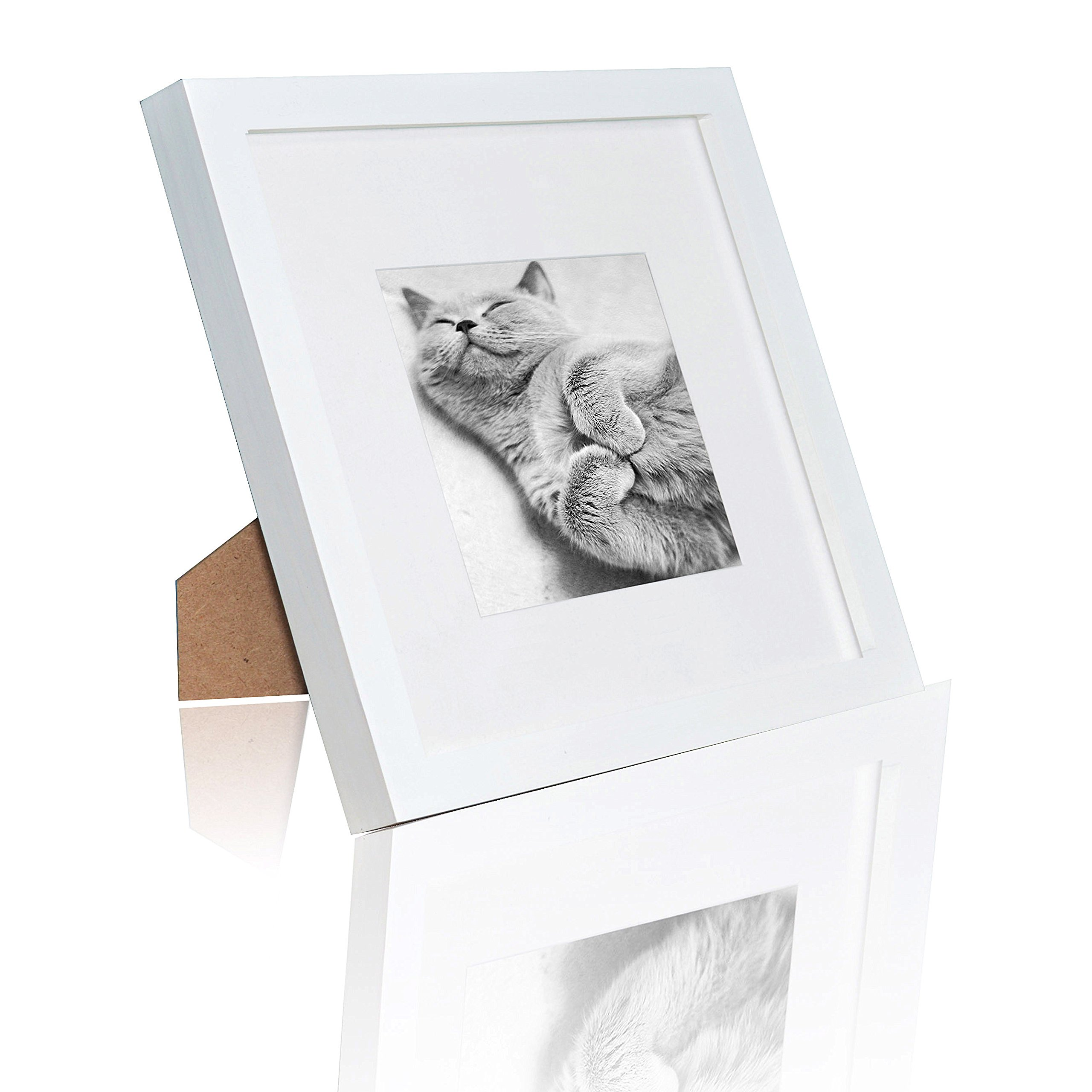 Ray & Chow 8x8 Square White Picture Frame - Solid Wood - Glass Window - with Picture Mat for 4x4 Photo - Frame Width 2cm