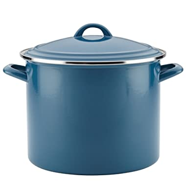 Ayesha Collection Enamel on Steel Stockpot, 12-Quart, Twilight Teal