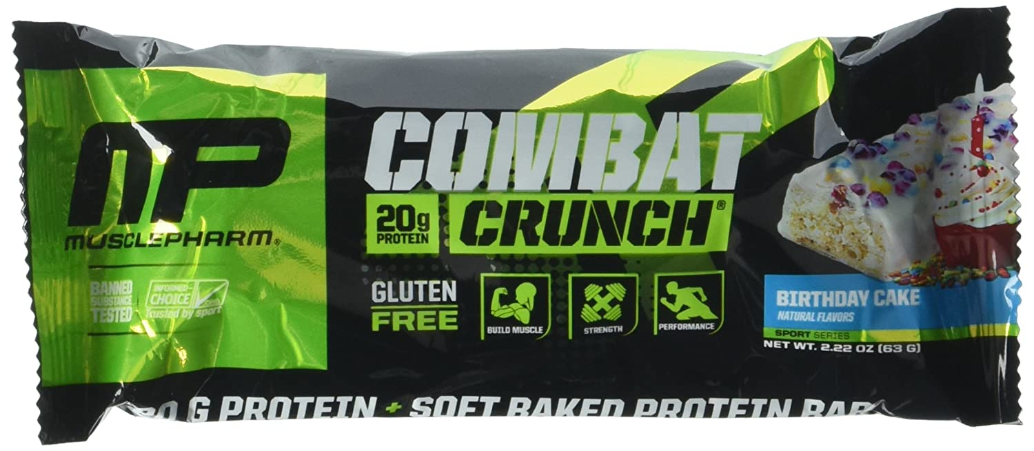 Amazon MusclePharm Combat Crunch Protein Bar Birthday Cake 12 Bars Health Personal Care