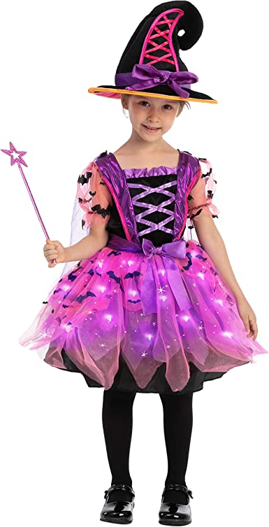 Girls Tutu Witch Dress /& Tights Party Outfit//Fancy Dress Up//Halloween Costume