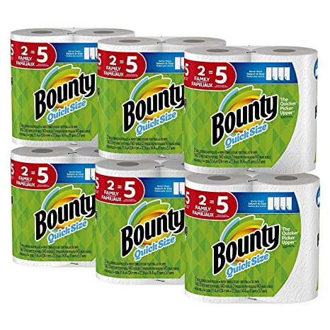 Bounty Quick-Size Paper Towels, 12 Family Rolls, White (2 Pack (
