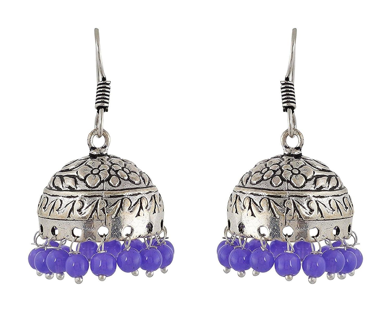 Subharpit Purple Oxidized Silver Metal Indian Traditional Ethnic Jhumka Jhumki Earrings for Women /& Girls