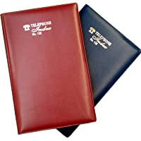 Excel Designer Telephone Index & Address Book With Soft Leather Cover -200 Pages Regular Size 22x15 CM-pack of 2