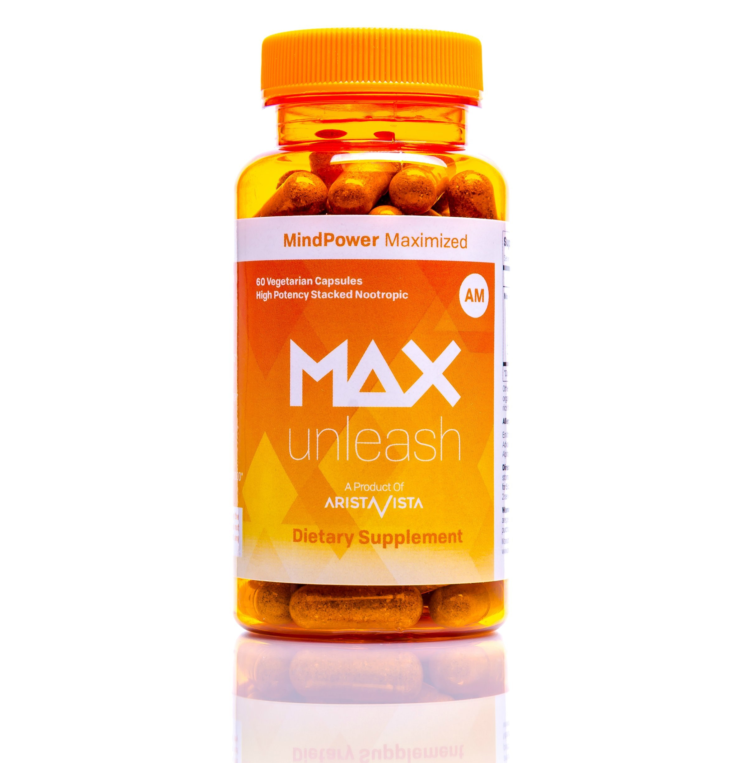 MAX Unleash: Powerful Energy, Metabolism & Focus Formula | Vegan Brain Supplement and Nootropic for Enhanced Mental Function and Clarity | for Men & Women | AristaVista (60 Vegetarian Capsules)