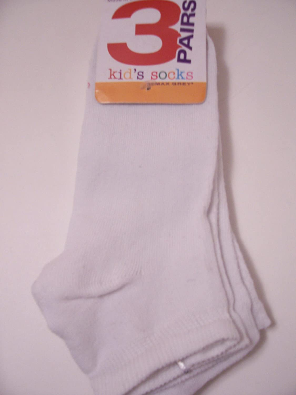 Solid White Max Grey Kids Socks 3 Pair ~ Size 9-11