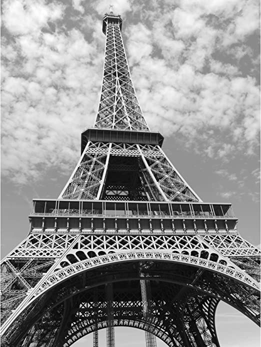 Amazon Com Eiffel Tower Paris Looking Up Black White Large Wall Art Poster Print Thick Paper 18x24 Inch Posters Prints
