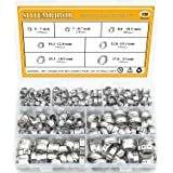 Sutemribor 304 Stainless Steel 7-21mm Single Ear stepless Hose Clamps Assortment Kit, 128PCS