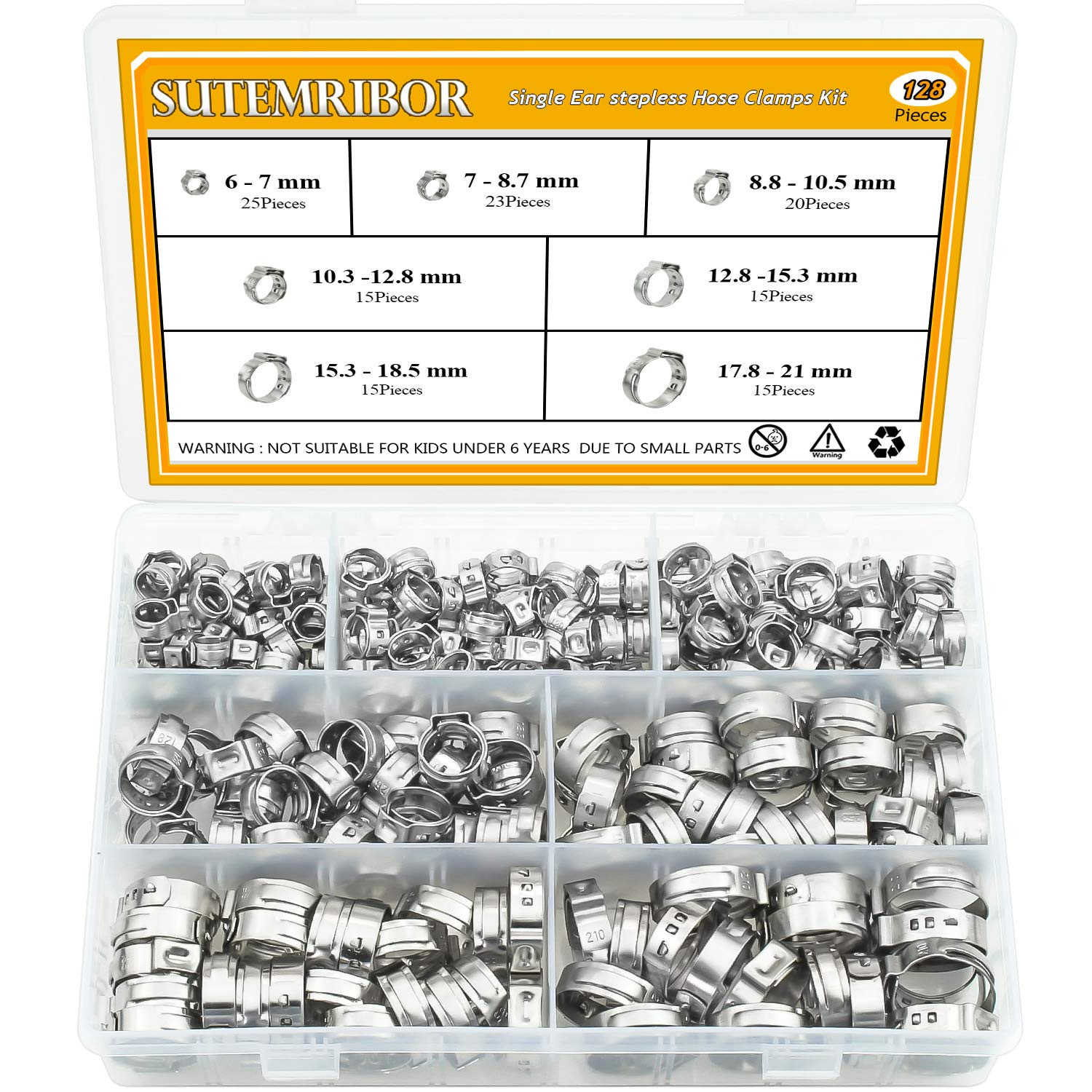 Sutemribor 304 Stainless Steel 7-21mm Single Ear stepless Hose Clamps Assortment Kit, 128PCS by Sutemribor