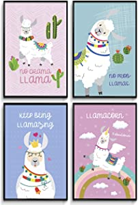 Llama gifts, Room Decor, Cute Room Decor, llama decor, llama gifts for girls, Posters For Teen Girls Room, llama wall art, llama llama , Wall Art Prints, Valentines Gifts Set of 4 11x17in.