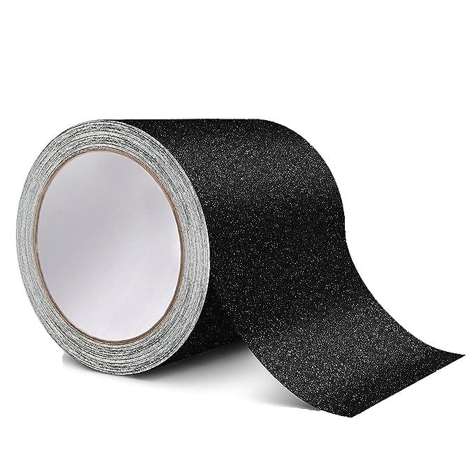 Cinta de tracción antideslizante: mejor adherencia, fricción, adhesivo abrasivo para escaleras, seguridad, paso de rodadura, interior, 4 pulgadas x 15 pies, ...